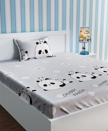 Urban Dream Cotton Bedsheet And Pillow Cover Panda Print - Grey