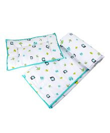 Wonder Wee Quilt & Pillow Set Multi Print - White Green
