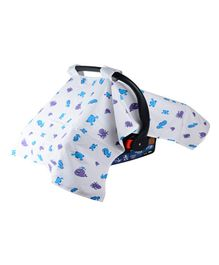 Wonder Wee Carry Cot & Car Seat Canopy Cover Sea Animals Print - Blue White