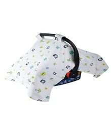 Wonder Wee Carry Cot & Car Seat Canopy Cover Travel Print - Turquoise Blue White