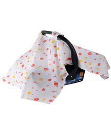 Wonder Wee Carry Cot & Car Seat Canopy Cover Space Print - White