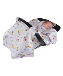 Wonder Wee Carry Cot & Car Seat Indian Muslin Cover Unicorn Print - White