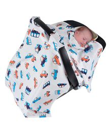 Wonder Wee Carry Cot & Car Seat Indian Muslin Cover Car Print - White Blue