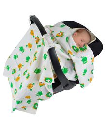 Wonder Wee Carry Cot & Car Seat Canopy Cover Allover Print - White Green