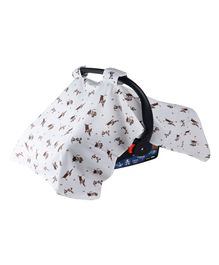 Wonder Wee Carry Cot & Car Seat Canopy Cover Puppy Print - White