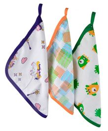 Wonder Wee 100% Cotton Mul (Muslin) Baby Washcloth Set - Multicoloured