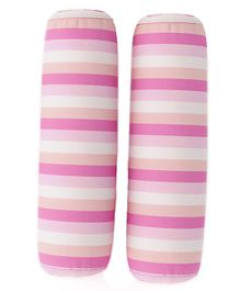 Fancy Fluff Stripes Bolsters Set Of 2 - Pink White