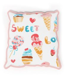 Fancy Fluff Rai Seed Filled Pillow Candy Print - White