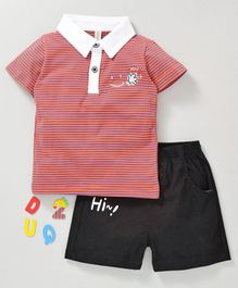 Kookie Kids Half Sleeves Striped Polo Tee & Shorts - Red Black