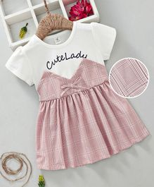 Lekeer Kids Short Sleeves Checks Frock - White Pink