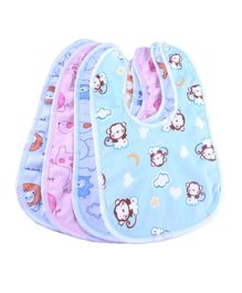 My NewBorn Bibs Animal Print Pack of 4 - Blue Pink
