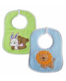 My Newborn Bibs Animal Embroidery Pack of 2 - Green Blue