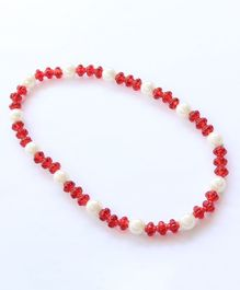 Pihoo Pearl Detailed Dual Shaded Necklace - Red