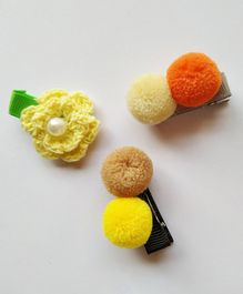 Milonee Set Of 3 Pom Pom & Flower Hair Clips - Orange & Yellow