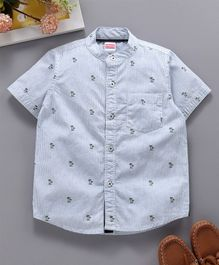 Babyhug Mandarin Collar Neck Striped Shirt Tree Print - Light Blue