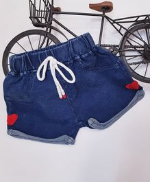 Aww Hunnie Heart Patch Shorts - Blue