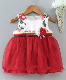 Sunny Baby Sleeveless Frock Floral Print - Red
