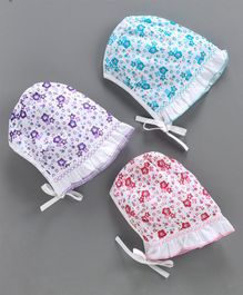 Babyhug Floral Printed Bonnet Caps Pack of 3 - Multicolour