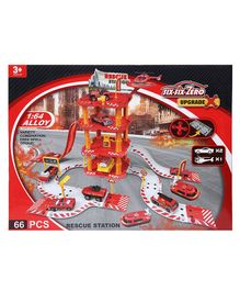 Wembley Toys Fire Rescue Station Play Set Red - 66 pieces