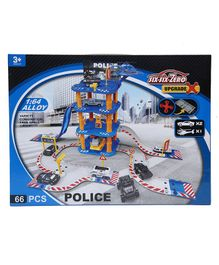Wembley Toys Police Petrol Station Play Set Blue - 66 pieces