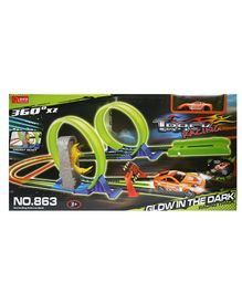 Wembley Toys 360 Hot Speed Powerful Spin Loop Way Track Set Green - 27 pieces