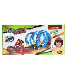 Wembley Toys 360 Spin Loop Glow - In - The- dark Racing Track Set Blue - 23 Pieces