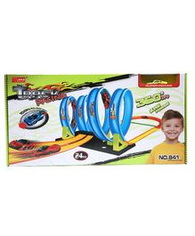 Wembley Toys 360 Spin Loop Glow - In - The- dark Racing Track Set Blue - 24 Pieces