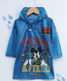 Babyhug Full Sleeves Hooded Raincoat Mickey Mouse Print - Royal Blue