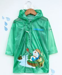 Babyhug Full Sleeves Hooded Raincoat Doraemon Print - Green