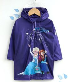 Babyhug Full Sleeves Raincoat Disney Frozen Print - Purple