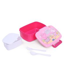 Peppa Pig Lunch Box And Water Bottle With Fork Spoon - Pink White