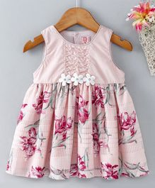 Sunny Baby Sleeveless Party Wear Frock Floral Print - Light Pink