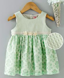 Sunny Baby Sleeveless Party Wear Frock With Floral Applique - Green