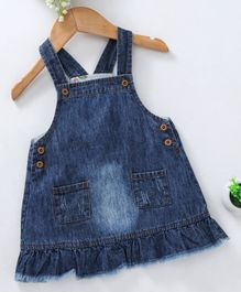 Kookie Kids Denim Dungaree Frock With Two Pockets - Blue