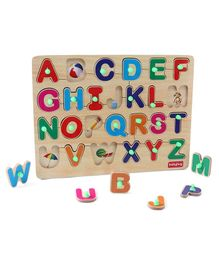 Babyhug Wooden Alphabet Puzzle Multicolour - 26 Pieces