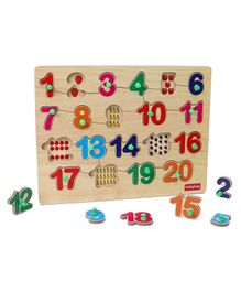 Babyhug Wooden Number Puzzle Multicolour - 20 Pieces