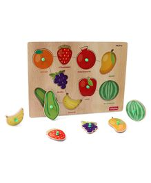 Babyhug Wooden Fruits Puzzle Multicolour - 9 Pieces
