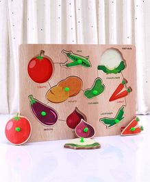 Babyhug Wooden Vegetables Puzzle Multicolour - 9 Pieces