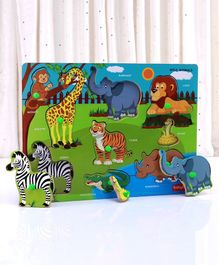 Babyhug Wooden Wild Animals Puzzle Multicolour - 9 Pieces