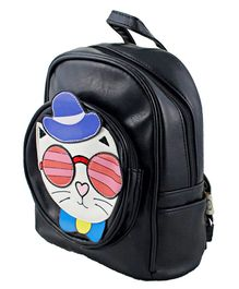 Kidofash Cat Face Patch School Bag - Black