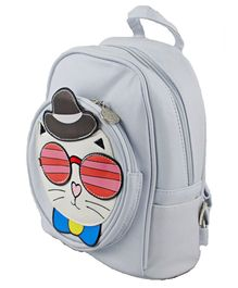 Kidofash Cat Face Patch School Bag - Silver