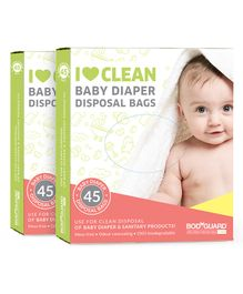 BodyGuard Baby Diapers & Sanitary Disposal Bag - 90 Bags (2 Pack 45 Bags Each)