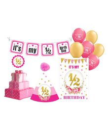 Prettyurparty Half Birthday Party Decorations Set - Pink
