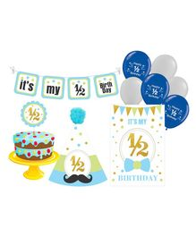 Prettyurparty Half Birthday Party Decorations Set - Blue