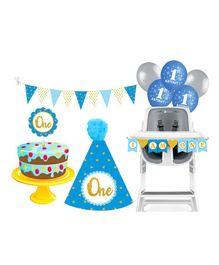 Prettyurparty First Birthday Party Decorations Set - Blue