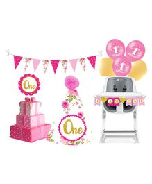 Prettyurparty First Birthday Party Decorations Set - Pink