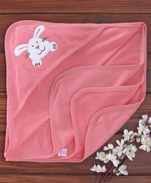 Pink Rabbit Hooded Towel Bunny Patch - Pink
