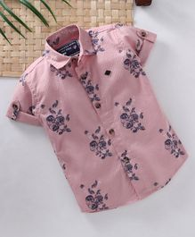 Jash Kids Half Sleeves Shirt Floral Print - Peach