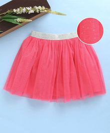 Babyhug Party Wear Net Frill Skirt With Shimmer Waistband - Pink