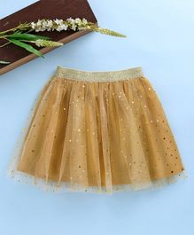 Babyhug Party Wear Net Frill Skirt With Gold Stick-Ons - Yellow